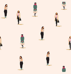 seamless pattern with young women in modern style vector image