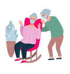 senior people wearing protective facial masks old vector image
