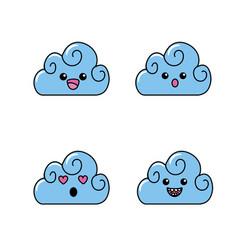 Set kawaii cute tender clouds weather vector