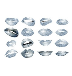 Set of 16 glamour lips with silver lipstick colors vector image