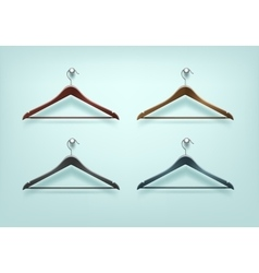 Set of Clothes Wooden Plastic Black Brown Hangers vector image