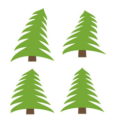 set of four green pines on a white background vector image