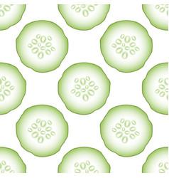 set of fresh green cucumbers seamless pattern vector image