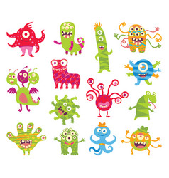 Set of funny little monsters vector