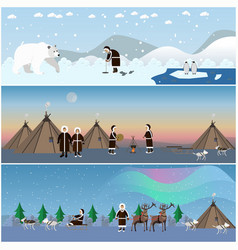 Set of wild north arctic posters in flat vector