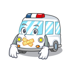 silent ambulance mascot cartoon style vector image