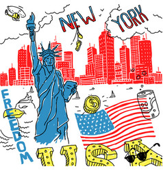 sketch america new york vector image