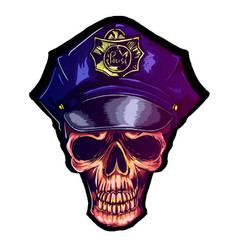 skull in police cap eps 10 police uniform vector image