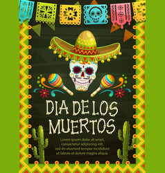 skull with sombrerro day dead mexican holiday vector image