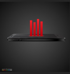 Smartphone with red chart on black background vector