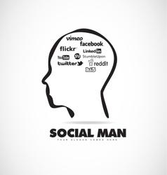 Social media human head icon vector