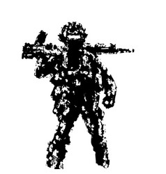 Soldier holding assault rifle on his shoulder vector