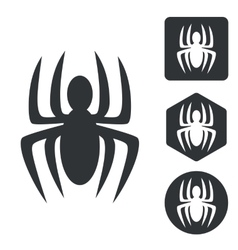 Spider icon set monochrome vector