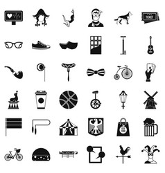 Sporting bike icons set simple style vector