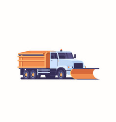 spreading salt on highway gritter snow plow truck vector image