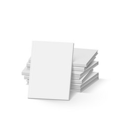 stack of blank white books on white mockup vector image