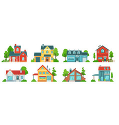 suburban house real estate facades holiday vector image