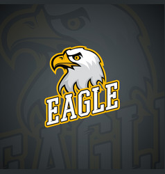 T-shirt logo template with furious eagle high vector
