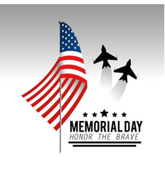 Usa flag with airplanes and stars to memorial day vector