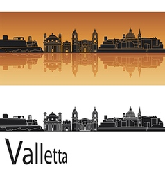 valletta skyline in orange background vector image