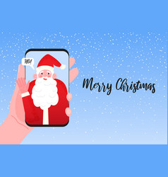 Video call to santa claus merry christmas and vector