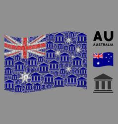 waving australia flag pattern library building vector image