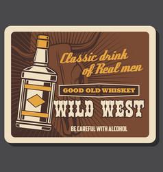 Whiskey bar saloon wild west cowboy pub vector