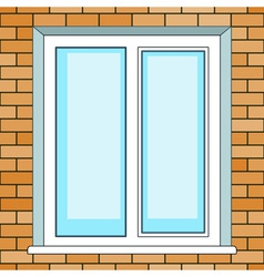 Window on brick wall vector image