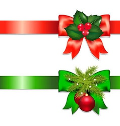 Xmas Ribbons With Holly Berry And Ball vector image