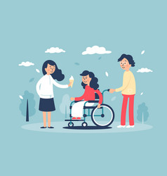 young cute smiling woman in wheelchair with family vector image