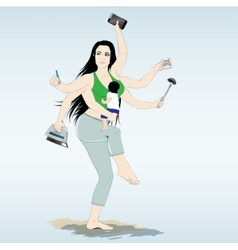 Multitasking super mother with six arms vector image