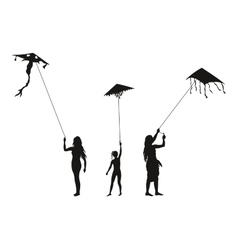 People with Flying Kites Silhouettes vector image vector image