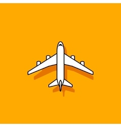 Plane icon flying on orange background vector image vector image