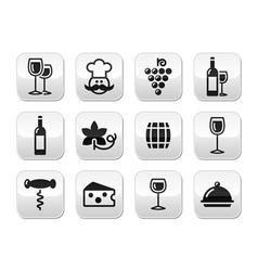 Wine buttons set - glass bottle restaurant food vector image vector image