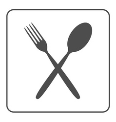 Crossed spoon and fork icon vector