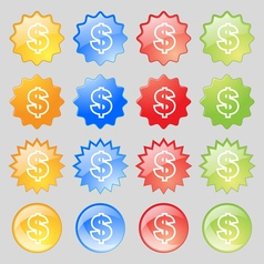 Dollar icon sign Big set of 16 colorful modern vector image vector image
