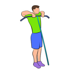 man exercising on cable machine icon cartoon vector image