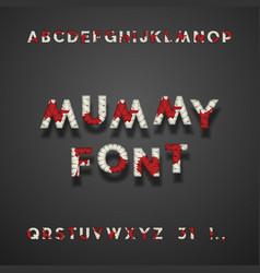 mummy bandage font with blood halloween typeface vector image