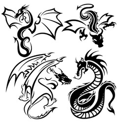 Tattoo Dragons vector image vector image