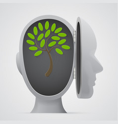 tree growing inside a head silhouette vector image vector image