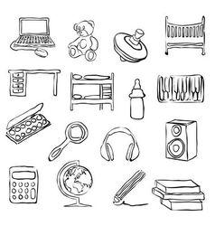 Children room doodle images vector
