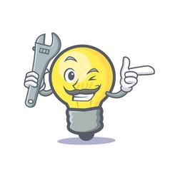 mechanic light bulb character cartoon vector image vector image