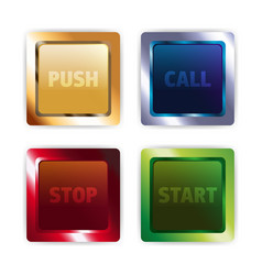 metal colorful square buttons vector image