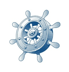 Ship wheel marine tattoo vector image