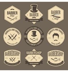 Vintage barbershop labels vector image vector image