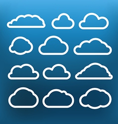 White cloud icons clip-art on color background vector image vector image