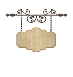 Wooden sign with place for text floral forging vector image