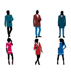 businessmen and businesswomen silhouette vector image