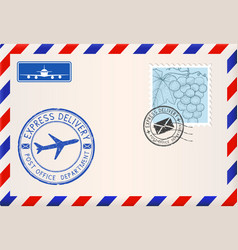envelope with stamps and postmarks international vector image vector image