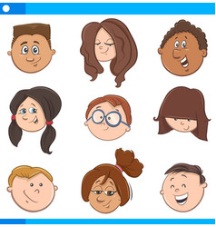kids cartoon characters set vector image vector image